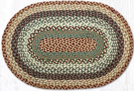 C-413 Buttermilk-Cranberry Braided Oval Rug