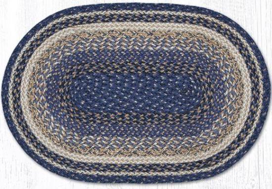 C 9-97 Deep Blue Braided Oval Rug