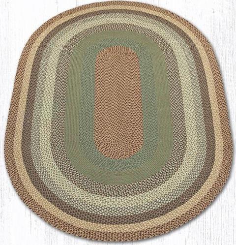 C-413 Buttermilk-Cranberry Oval Braided Rug 6x9