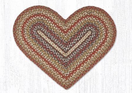 C-300 Honey-Vanilla-Ginger Heart Braided Rug 20x30