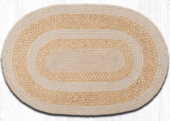 ITC-005 Ecru Oval Braided Rug 20x30