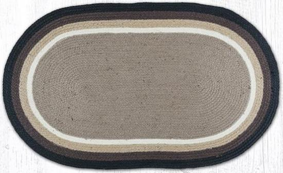 ITC-009 Sand-Black Oval Braided Rug 27x45