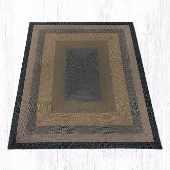 RC-99 Brown-Black-Charcoal Braided Rectangle Rug 8x10