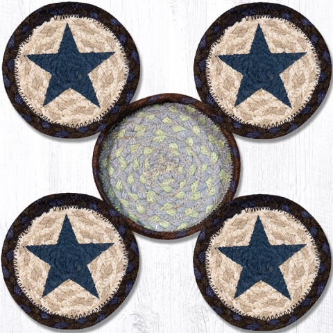 CNB-312 Blue Star Coasters in a Basket 5x5