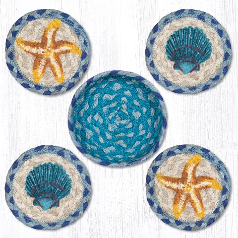 CNB-378  Star Fish Coasters in a Basket 5x5