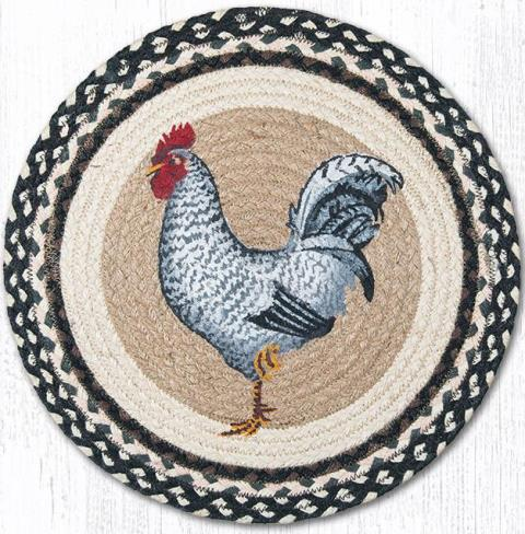 CH-430 Black & White Rooster Round Chair Pad 15.5 In