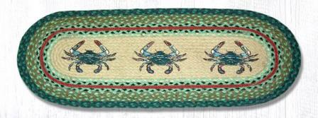 OP-359 Blue Crab Oval Patch Runner 13x36