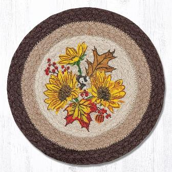 MSPR-472 Autumn Sunflower Hand Printed Round Swatch 10x10
