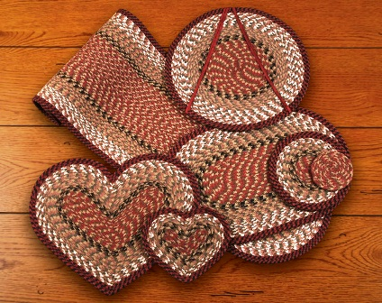 C-19 Burgundy-Mustard Oval Placemat 13x19