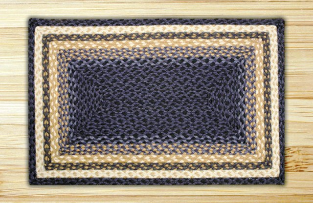 RC-79 Lt. Blue-Dk. Blue-Mustard Rectangle Braided Rug 3x5