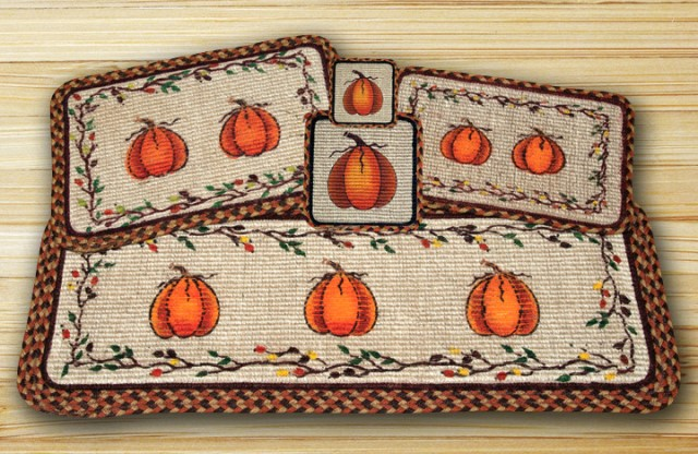 WW-222 Harvest Pumpkin Wicker Weave Table Accent Table Runner 13x36