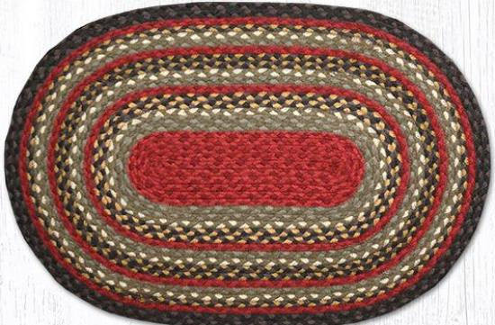 C-338 Burgundy-Olive-Charcoal Oval Braided Rug