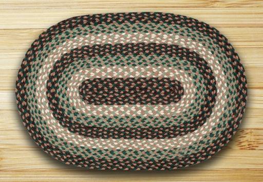 C-742 Green Oval Braided Rug 20x30