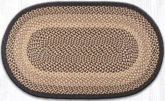 C-017 Chocolate-Natural Oval Braided Rug 27x45-C-017 Chocolate-Natural Oval Braided Rug 27x45