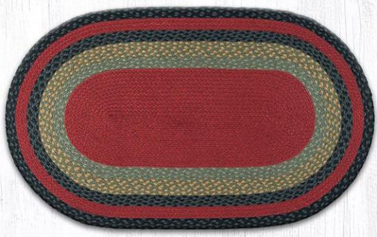 C-238 Burgundy-Olive-Charcoal Oval Braided Rug 27x45-C-238 Burgundy-Olive-Charcoal Oval Braided Rug 27x45