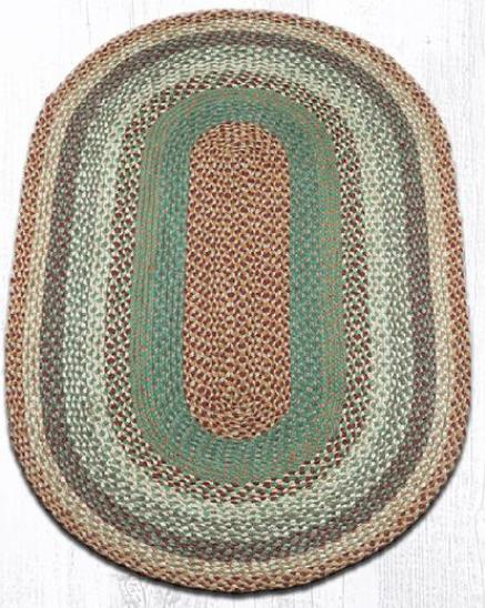 C-413 Buttermilk-Cranberry Oval Braided Rug 3x5-C-413 Buttermilk-Cranberry Oval Braided Rug 3x5