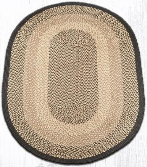 C-017 Chocolate-Natural Oval Braided Rug 4x6-C-017 Chocolate-Natural Oval Braided Rug 4x6