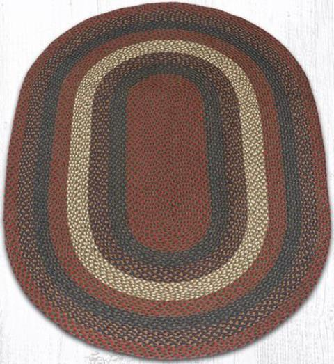 C-040 Burgundy-Gray Oval Braided Rug 4x6 From Granny Jane