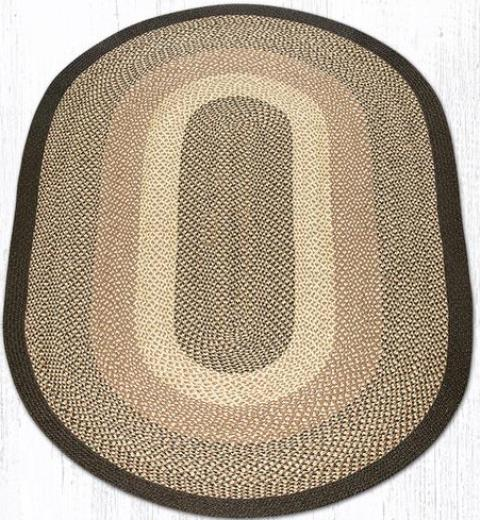 C-017 Chocolate-Natural Oval Braided Rug 5x8