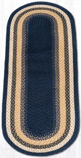 C-079 Lt. Blue-Dark Blue-Mustard Oval Braided Rug 2x6-C-079 Lt. Blue-Dark Blue-Mustard Oval Braided Rug 2x6