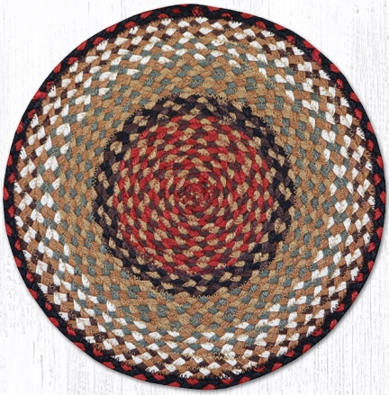 CH-019 Burgundy-Mustard Jute Braided Chair Pad 15.5