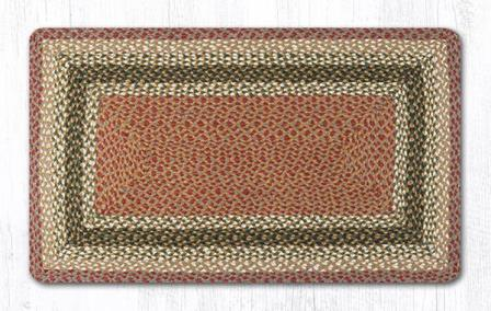 RC-24 Olive-Burgundy-Gray Braided Rectangle Rug 27x45