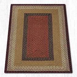 RC-019 Burgundy-Mustard Braided Rectangle-Oblong Rug 3x5-RC-019 Burgundy-Mustard Braided Rectangle-Oblong Rug 3x5