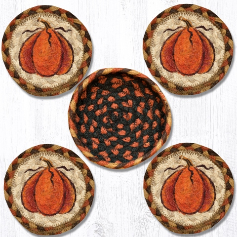 CNB-222 Harvest Pumpkin Coasters in a Basket 5x5