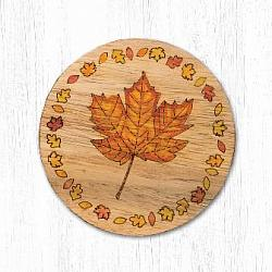 T-002 Autumn Leaf Teak Wood Coaster 3.5 In-T-002 Autumn Leaf Teak Wood Coaster 3.5 In