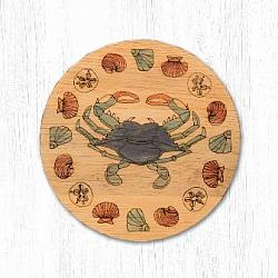 T-003 Blue Crab Teak Wood Coaster 3.5 In-T-003 Blue Crab Teak Wood Coaster 3.5 In