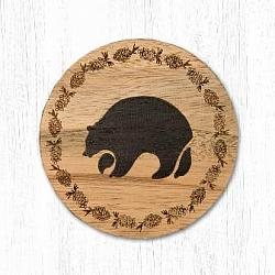 T-006 Black Bear Teak Wood Coaster 3.5 In-T-006 Black Bear Teak Wood Coaster 3.5 In