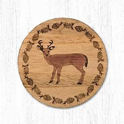 T-022 Deer Teak Wood Coaster 3.5 In-T-022 Deer Teak Wood Coaster 3.5 In