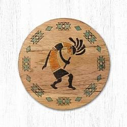 T-030 Kokopelli Teak Wood Coaster 3.5 In-T-030 Kokopelli Teak Wood Coaster 3.5 In