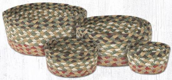 CB-024 Olive-Burgundy-Gray Braided Casserole Basket Set-CB-024 Olive-Burgundy-Gray Braided Casserole Basket Set