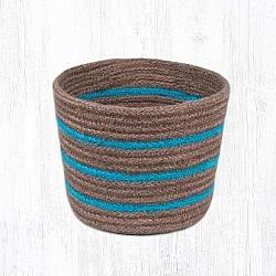 RB-03 Turquoise & Brown Large Round Jute Braided Basket 6x7-RB-03 Turquoise  Brown Large Round Jute Braided Basket 6x7