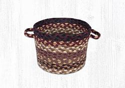 UB-371 Black Cherry-Chocolate-Cream  Small Jute Braided Utility Basket 9x7-UB-371 Black Cherry-Chocolate-Cream  Small Jute Braided Utility Basket 9x7