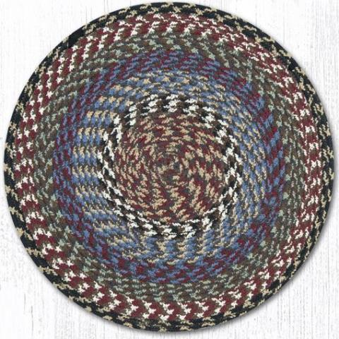 C-043 Burgundy-Blue-Gray Cotton Round Chair Pad 15x15-C-043 Burgundy-Blue-Gray Cotton Round Chair Pad 15 In