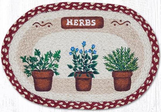 PM-524 Herbs Oval Printed Placemat 13x19-PM-524 Herbs Oval Printed Placemat 13x19