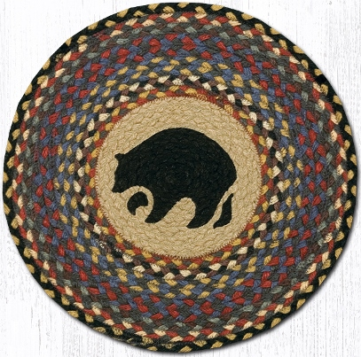 CH-043 Black Bear Round Printed Chair Pad 15.5 In-CH-043 Black Bear Round Printed Chair Pad 15.5 In