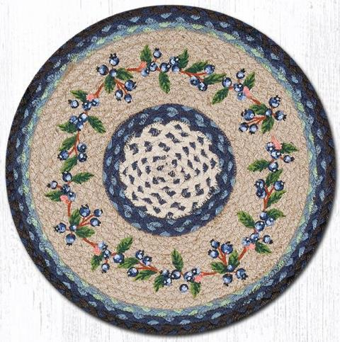CH-312 Blueberry Vine Round Printed Chair Pad 15.5 In-CH-312 Blueberry Vine Round Printed Chair Pad 15.5 In