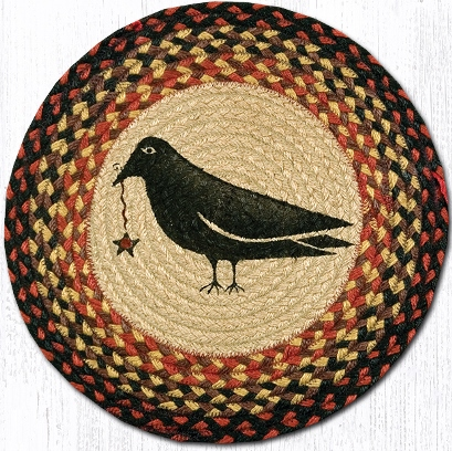CH-919 Crow & Star Round Printed Chair Pad 15.5 In-CH-919 Crow  Star Round Printed Chair Pad 15.5 In