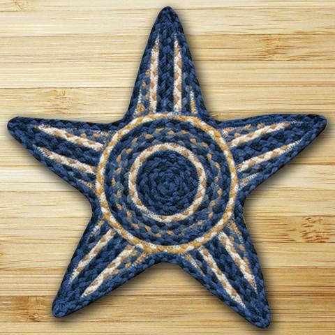 C-079 Lt. Blue-Dk. Blue-Mustard Star Shaped Trivet 19x19