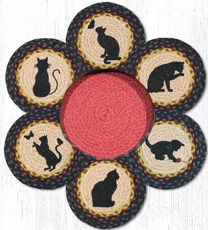 TNB-238 Cats Jute Trivets in a Basket 10 In