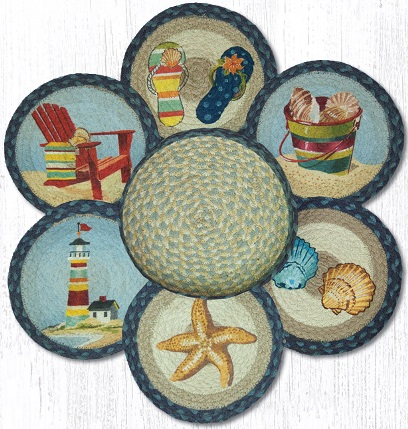 TNB-362 By The Sea Jute Trivets in a Basket 10 In-TNB-362 By The Sea Jute Trivets in a Basket 10 In
