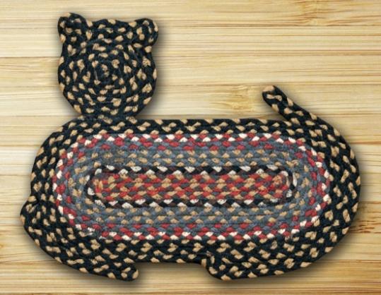 CT-043 Burg-Blu-Gray Jute Braid Cat Shape Rug 14.5x19.5