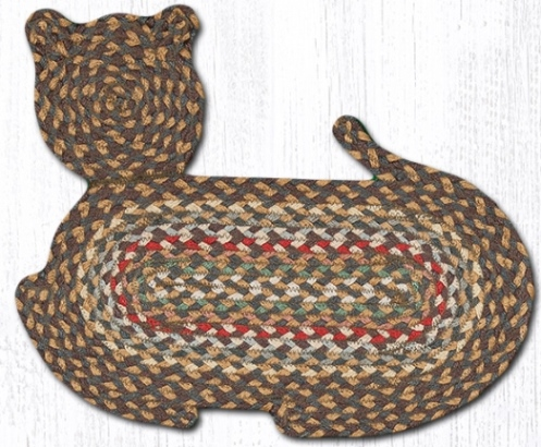 CT-051 Fir-Ivory Jute Braid Cat Shape Rug 14.5x19.5