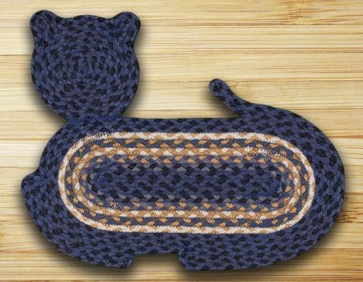 CT-079 Lt Blu-Dk Blu-Mustard Jute Braid Cat Shape Rug 14.5x19.5