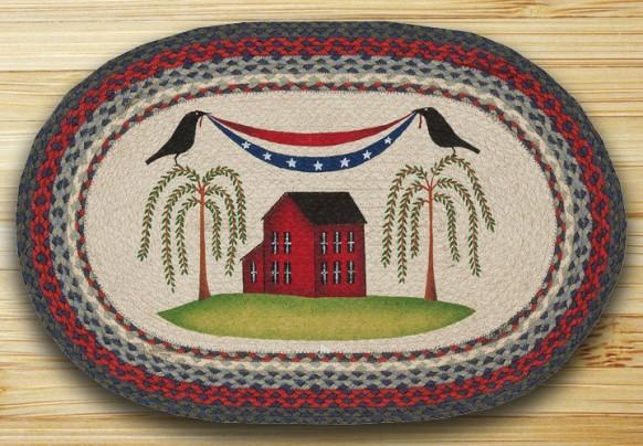 OP-015 Patriotic Crow Oval Patch Rug 20x30-OP-015 Patriotic Crow Oval Patch Rug 20x30
