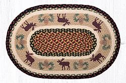 OP-019 Moose-Pinecone 2 Hand Stenciled Oval Patch Braided Rug 20x30-OP-019 Moose-Pinecone 2 Hand Stenciled Oval Patch Braided Rug 20x30