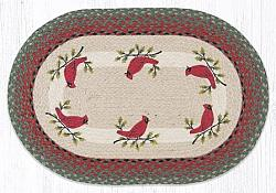 OP-025 Holly Cardinal Hand Stenciled Oval Patch Braided Rug 20x30-OP-025 Holly Cardinal Hand Stenciled Oval Patch Braided Rug 20x30